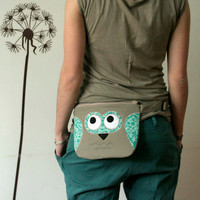 Spring Owl fanny pack, belt bag, tan and turquoise with birds and flowers, spring fashion -made to order