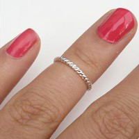 3 Midi Ring Above The Knuckle- Twisted Silver Band 14mm from loveheartsandcrosses