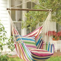 Rainbow Striped Cotton Hammock Chair Swing - Plow & Hearth