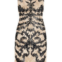 Alexander McQueen|Laser-cut patent-leather and lace dress|NET-A-PORTER.COM