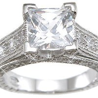 Sterling Silver Cubic Zirconia CZ Princess Cut Engagement Promise Ring Size 6