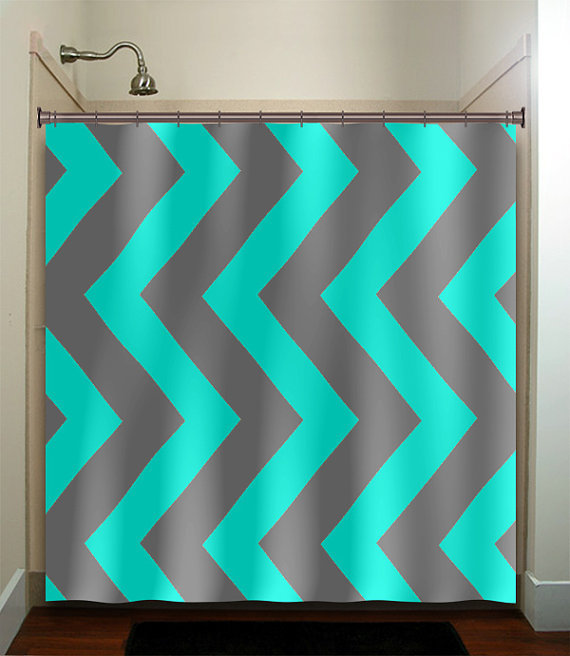 Turquoise aqua blue gray vertical chevron from for Turquoise and gray bathroom accessories