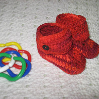Chili Red and Orange Baby Boots 3-6 months Photo Prop Ready to ship