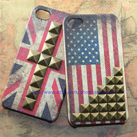iPhone 4 4S case Vintage Flags America Texas British by OneLoveLi