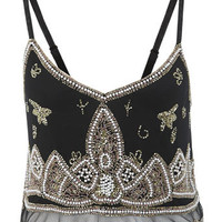 Paisley Beaded Cami Crop Top - Tops  - Apparel