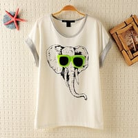 Cool Elephant Batwing Loose T-shirt