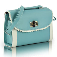 Turq Light Blue Lace Shoulder Bag/Satchel