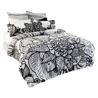 Tribal Flower Reversible Queen Bed Quilt Cover Set, Black/White