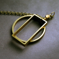 Geometric Jewelry: Geometric Shapes Pendant Necklace - Minimalist and Modern, Long Length