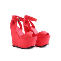 Missguided - Felice Platform Peep Toe Wedges In Coral