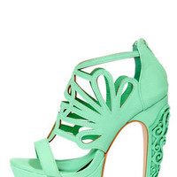 Privileged Alti Seafoam Caged Cutout Platform High Heels
