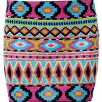Multi Color Aztec Print Mini Skirt with Elastic Waist