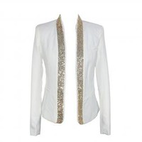 White Long Sleeve Blazer with Gold Sequin Embellishment