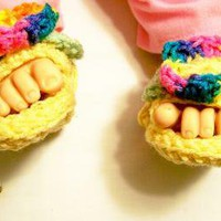 Baby Girl Sandals with FlowerYellow with FlowerDouble Sole by HandmadeGiftsbyBarb on Zibbet