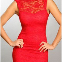 The Milan Coral Lace Neck Dress