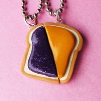 Peanut Butter and Jelly Matching Slice Necklaces - Set of 2
