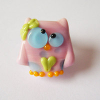 Lampwork Owl Bead Sweetheart Kooky Owl by keiara SRA by bykeiara