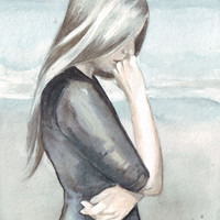 Original watercolor art woman beach dress contemporary painting feelings moods and emotions