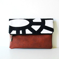 Clutch Purse, Fold over clutch, Black and white, Geometry