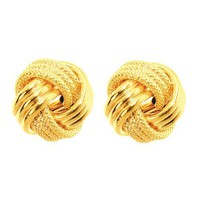 14k 12mm Yellow Gold Large Love Knot Earring - Jewelryweb