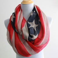 Light Kahki American Flag Infinity Scarf Cute star bangled banner loop scarf Red and Blue star infinity Scarf Star Eternity Scarf
