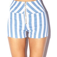 High-Waisted Vertical Stripe Shorts