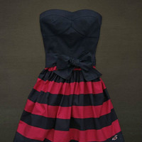 Hollister  Abercrombie Dark Blue Pink Striped Logo Summer Dress Cute Strapless L