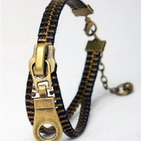 Bronze zipper Head Bracelet