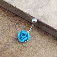 Turquoise Flower Belly Button Ring