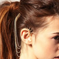 $12.99 Silver Four Chain Cartilage Rivet Ear Wrap by necklacependantworld