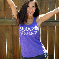 Amaze Yourself.  Burnout A-Line Racerback Tank.  Size LARGE