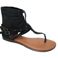 Womens Roman Gladiator Sandals Flats Thong Shoes Ankle Strap Studded Buckle Wrap 5 Colors