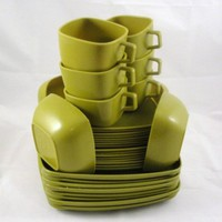 34 pieces of Tranquil Ware Olive Green Plates and Cups | SuesBoutique - Kitchen & Serving on ArtFire