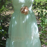 Mint  lace dress  green chiffon tiered vintage rose romantic medium by vintage opulence on Etsy
