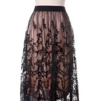 Romance Full Lace Maxi Skirt in Black - Skirt - Bottoms - Retro, Indie and Unique Fashion