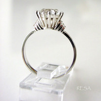Two Carat White Topaz  Wedding Ring Sterling by ResaArtDesign