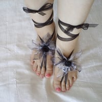 Organza Barefoot Sandals, silvery  sandals, beach shoes, bridal sandals, wedding bridal gifts, barefoot sandles, wedding shoes, summer wear.