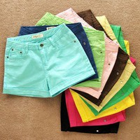 Casual color denim shorts hot pants