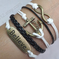 Infinity bracelet, believe bracelet ,anchor bracelet, infinity love, cute bracelet, forever in love,braid leather bracelet