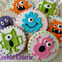 Little Monster Decorated Cookies Birthday Party Cookie Favors One Dozen