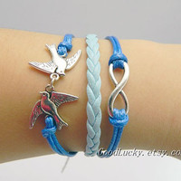 Infinity Bracelet,Bird Bracelet,Charm Bracelet in Silver-Best Chosen Gif -Choose Your Favourite Color-Customize Your Own Style
