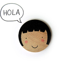 Happy Little Faces Hand Screenprinted Wood Brooch by olula on Etsy