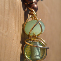 Green glass beads Wire Wrapped in Gold Necklace by CraftyKikis