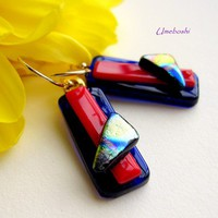 Colorful Danglers Handmade Dichroic Fused Glass Earrings- Gold Filled