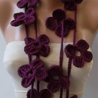 Flower Lariat Scarf Necklace--plum purple
