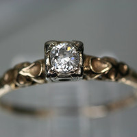 Vintage 14k Yellow and White Gold Diamond Ring by ClassicStyle
