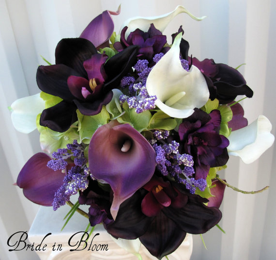 Plum lavender Wedding bouquet real touch by BrideinBloomWeddings