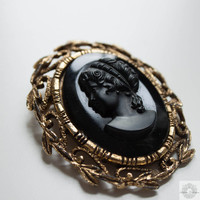 Large Cameo Pendant Brooch - Vintage Black Glass Portrait