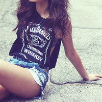 Womens Black Jack Daniels Racer Vest Top