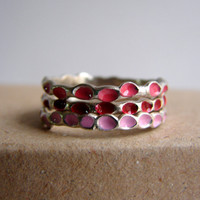Pink Rings Ombre ring Stackable Sterling Silver